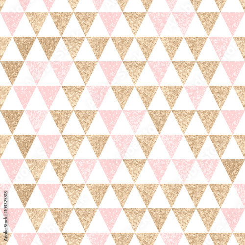 Seamless geometric abstract background. Gold and pink triangles. - 103325313