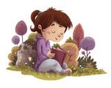 niña leyendo en la naturaleza