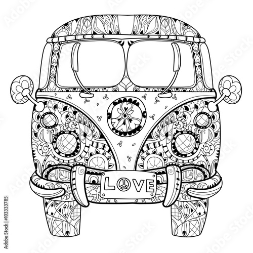 boho coloring pages Hand drawn doodle outline retro bus travel decorated with  boho coloring pages