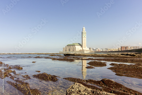 View on seafront of Grande Mosquée Hassan II in Casablanca Poster