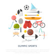 olympic sports vector icons concept