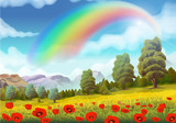 Spring landscape, poppies and rainbow vector background
