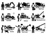 Fototapety Construction Vehicles Transportation and Worker Set