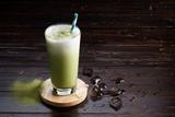 iced green tea latte.