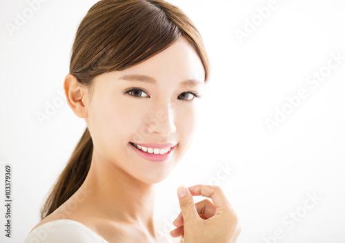 Poster  closeup beautiful young asian  woman  face