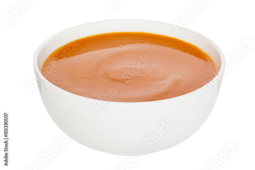 Poster Tomato Soup - Cream of Tomato Soup in a white china bowl, clipping path, front to back focus