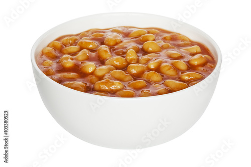 Poster Baked Beans in a white china bowl, front to back focus, clipping path
