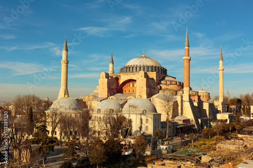 Poster Hagia Sophia in Istanbul with nice blue sky