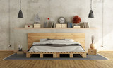 Fototapety Bedroom with pallet double bed