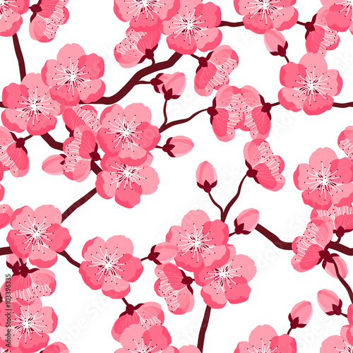 Cotton fabric Japanese sakura seamless pattern with stylized flowers. Background made without clipping mask. Easy to use for backdrop, textile, wrapping paper