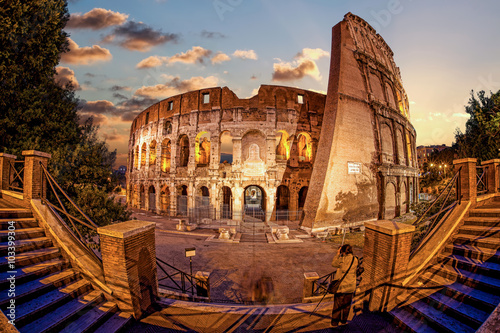 Poszter Colosseum in the evening, Rome, Italy