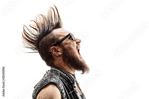 Angry young punk rocker screaming Poster
