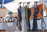 Rope and pulley on a sailboat