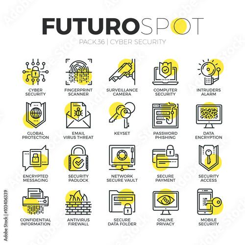 Cyber Security Futuro Spot Icons