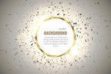Fototapety Vector ring background. Metal chrome shine round frame with spark light effect and big explosion.