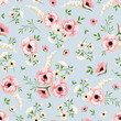 Vector seamless pattern with pink and white flowers on a blue background.