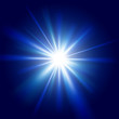 Blue light sunburst background.