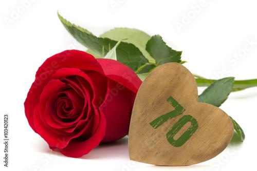 Poster rote Rose mit Holzherz Jubiläum 70