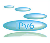 Blue bubble icon with reflection on a white background with the inscription: IPv6
