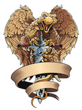 Griffon with sword and placard. Heraldic design element.