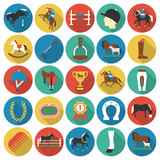 Horse, racing, racetrack 25 flat icons. Long shadow design for web.