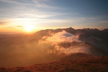 Sunrise over the mountains in the Polish Tatras