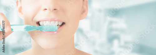 Leinwanddruck Bild Bocca spazzolino denti pulizia