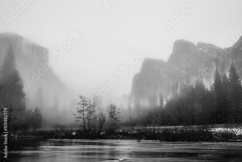 Black and White Yosemite Valley View on a Foggy Evening Poster