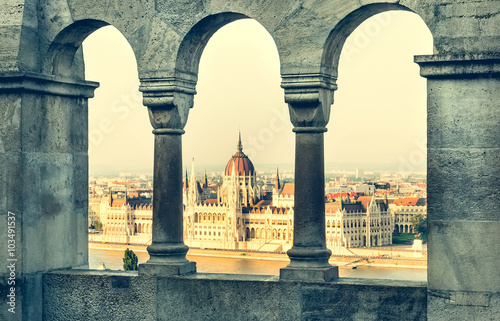 Poster view from Fishermen Bastion on National Hungarian Parliament