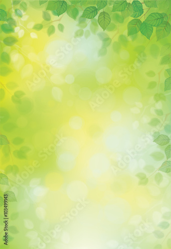 Fotobehang Lime groen Vector green leaves border on green bokeh background.