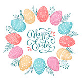 Fototapety Easter wreath with easter eggs hand drawn black on white background. Decorative doodle frame from Easter eggs and floral elements. Easter eggs with ornaments in circle shape. Easter greeting card.