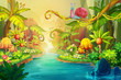 Leinwanddruck Bild - Creative Illustration and Innovative Art: Fairy River with Snail. Realistic Fantastic Cartoon Style Artwork Scene, Wallpaper, Story Background, Card Design