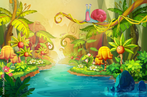 Leinwanddruck Bild Creative Illustration and Innovative Art: Fairy River with Snail. Realistic Fantastic Cartoon Style Artwork Scene, Wallpaper, Story Background, Card Design