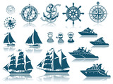 Compass and Sailing ships icon set - 103523522