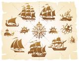 Sailing ships silhouettes set