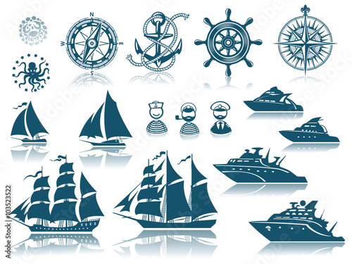 Poster Compass and Sailing ships icon set