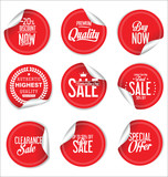 Round sale stickers on white background collection