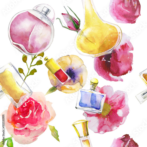 Cotton fabric seamless pattern with watercolor perfumes