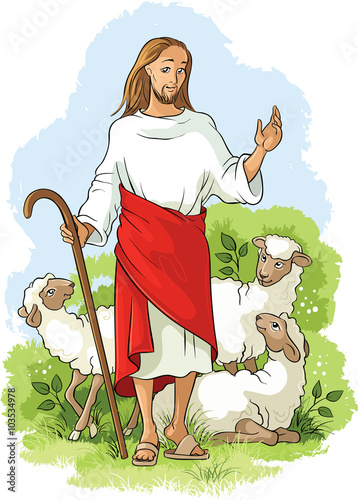 Zdjęcia na płótnie, fototapety, obrazy : Jesus is a good shepherd