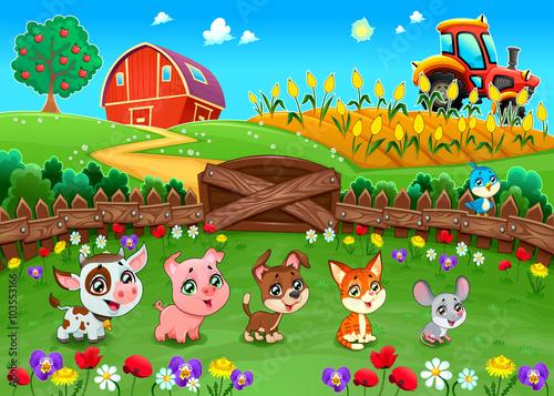 Fotobehang Boerderij Funny landscape with farm animals