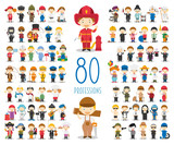Fototapety Kids Vector Characters Collection: Set of 80 different professions in cartoon style.