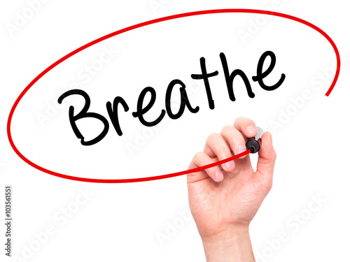Man Hand writing Breathe   with black marker on visual screen Poster
