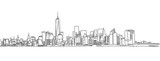 Fototapeta Nowy York - Free hand sketch of New York City skyline. Vector Scribble © netsign