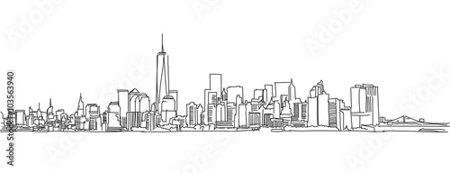 Free hand sketch of New York City skyline. Vector Scribble - 103563940
