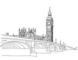 Hand drawn Popular view Big Ben and Westminster Bridge Outline - 103564109