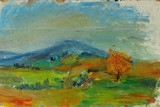 Old oil painting autumn landscape with mountains, trees, sky, sunset On Canvas - 103566999