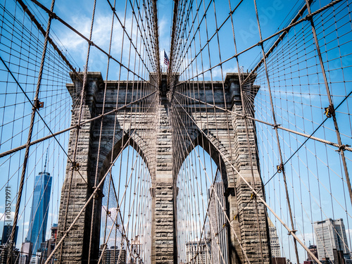 Poster Brooklyn Bridge on a sunny day with Manhattan in the background