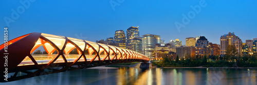 Calgary cityscape with Peace Bridge and downtown skyscrapers in Alberta at night, Canada. - 103588534