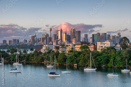 Tuinposter Sydney Looking across Cremorne from Mosman Bay to Sydney
