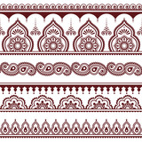 Mehndi, Indian Henna tattoo brown seamless pattern, design elements - 103611754